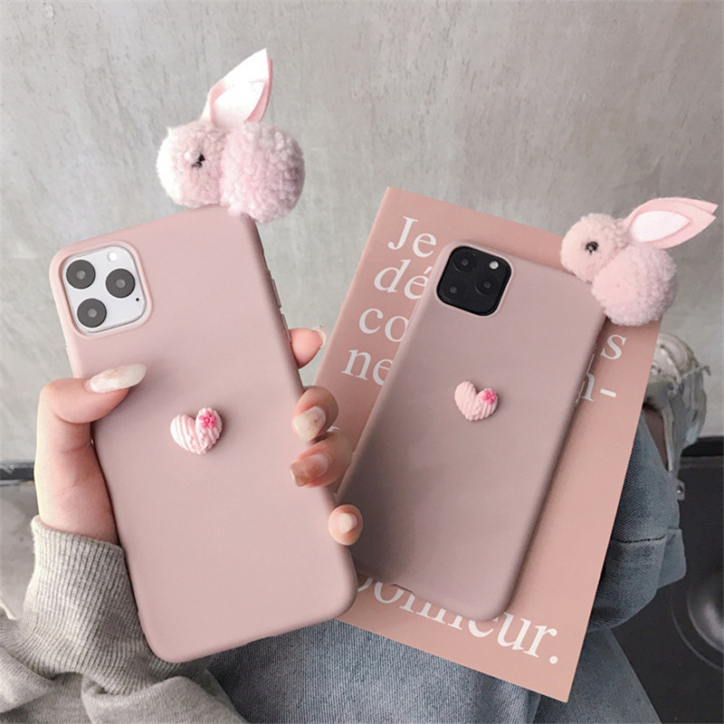 Cartoon 3D Rabbit Case For Iphone 12 11 Pro Max 12 Mini 6 7 8 Plus XR X XS Max Lovely Phone Case Soft TPU Love Heart Back Cover