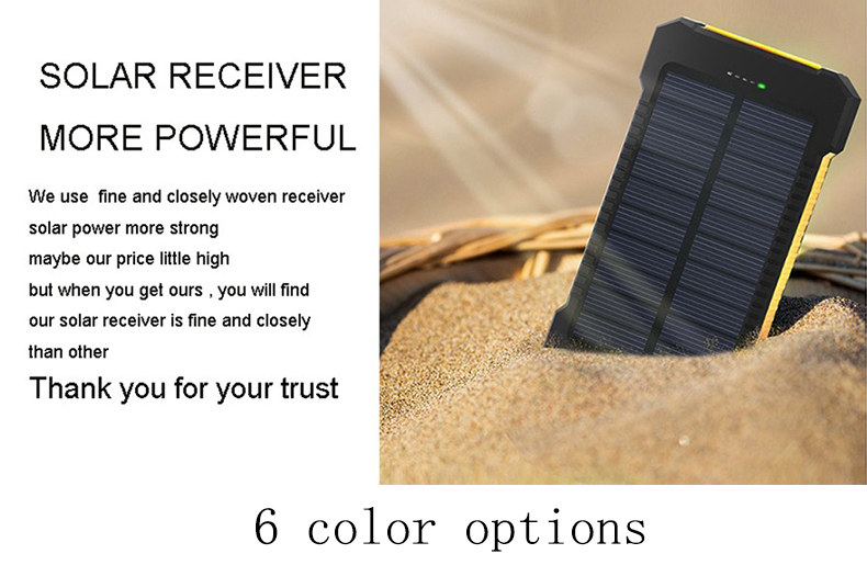 Waterproof Solar Power Bank with Polycrystalline Solar Panel with 2 USB Output Ports and Flashlight 2