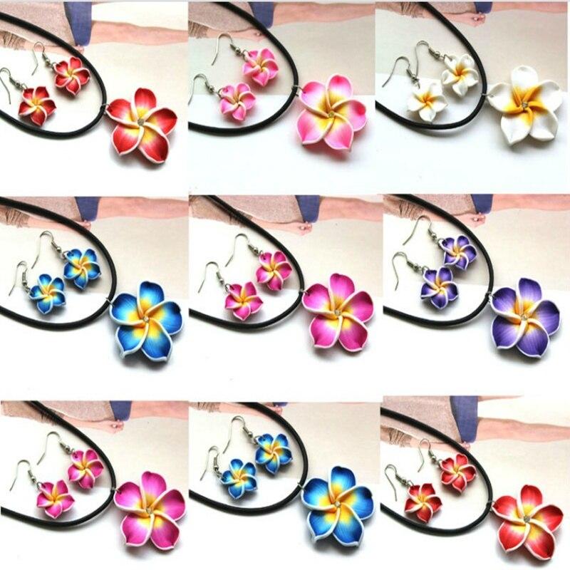 Women's Fashion Polymer Clay Flower Leather Crystal Rhinestones Earrings Hawaiian Flower Egg Flower Earrings