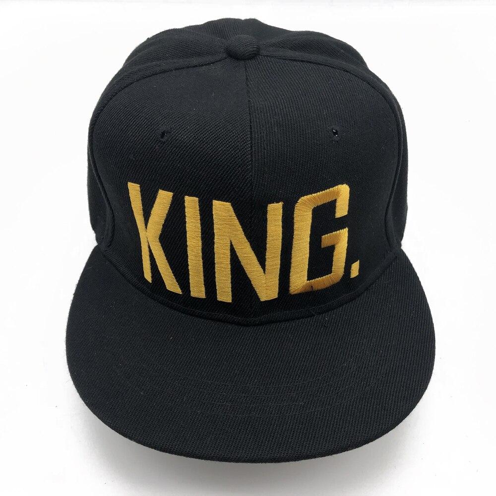 1PC KING QUEEN gorras bordadas Lover hombres mujeres gorra de béisbol negro Hip Hop Cap Snapback sombreros, chapeau bone masculino