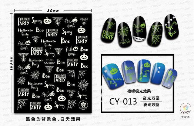 Купить morixi стикер для дизайна ногтей светящийся хэллоуин серии светится картинки цена