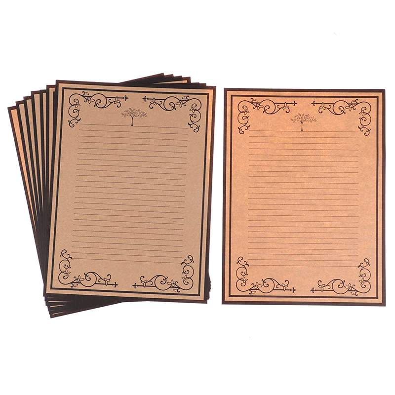 Letter-Paper Kraft Vintage Decorative-Pattern 8sheets Lace-Side 1set European-Style