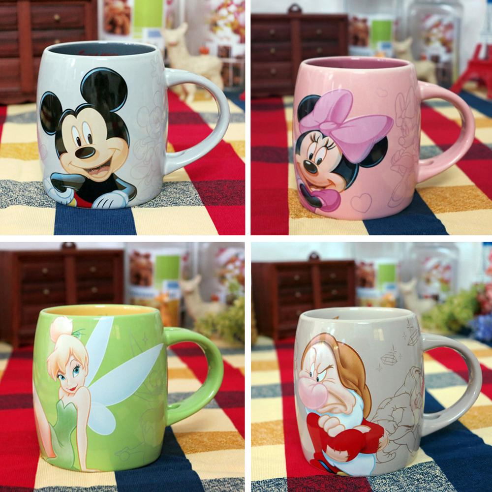 450mL Disney Mickey Minnie Mouse Ceramic Water Cup Milk Coffee Mug Home Office Collection Cups Women Girl Love Couple Gifts