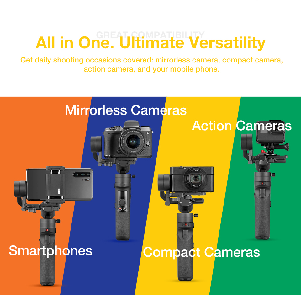 Zhiyun crane M2 stabilisateur de joint universel à main 3 axes pour Sony A6300 A6500 Canon M50