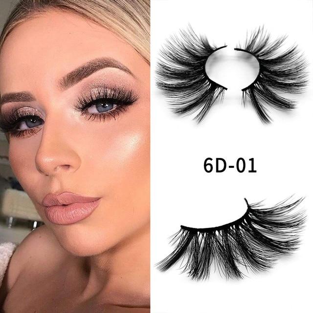 1 pair 6d Eyelash 25 mm Mink Eyelashes 5d Lashes 100% Mink Eyelashes Wholesale Long Eyelashes Crisscross 1 Box Makeup 1