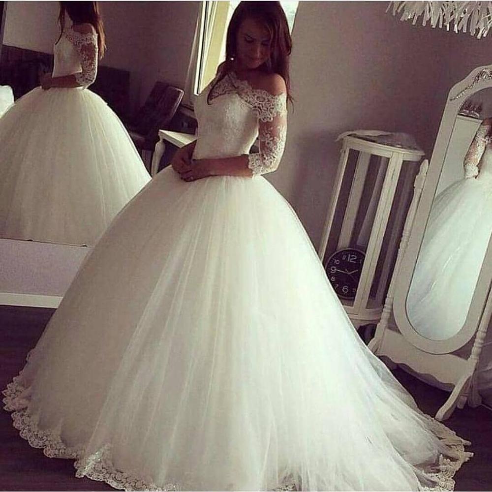 Sexy Women Simple Vintage Dress Wedding Plus Size Gowns 2019