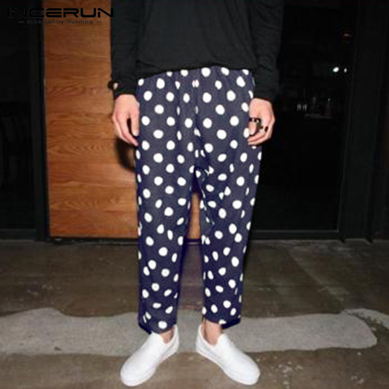 INCERUN Casual Polka Dot Print Pants Men Fashion Elastic Waist  Trousers High Street Hip-hop Loose Pants Men Bottoms 2020