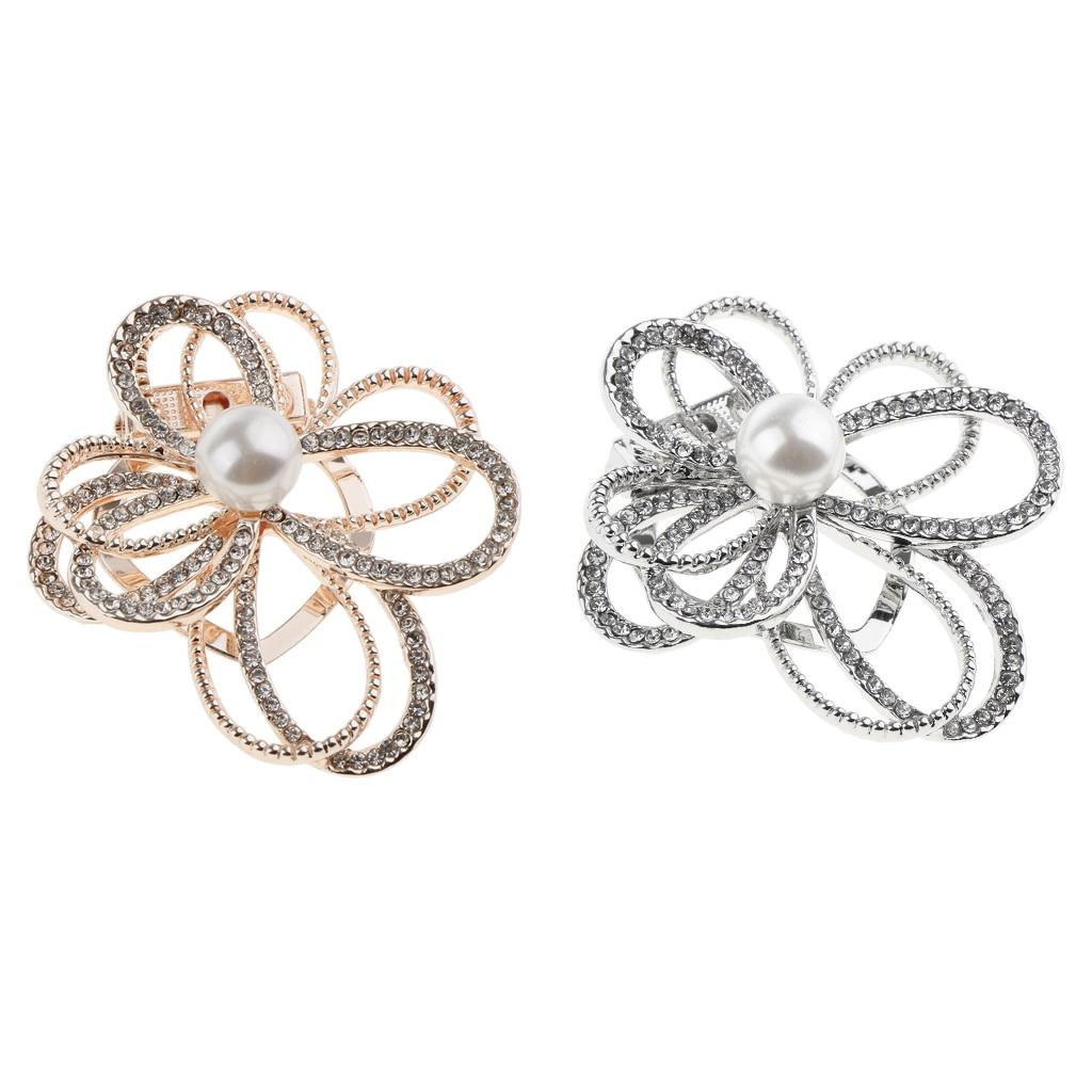 Flor lenço clipe broche pino strass cachecol fivela anel para casamento feminino