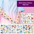 Временные татуировки-наклейки для детей, 10 шт./компл., единорог, Акула, искусственные татуировки для рук, тела, татуировки, временные наклейк...