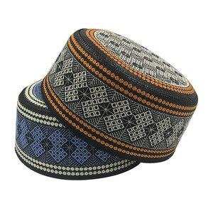 Image 2 - New Prayer Hats Cotton Embroidery Islamism Muslim hat Islam Arabic India Jewish Hat Saudi Arabia Hats for men Headscarf Clothing