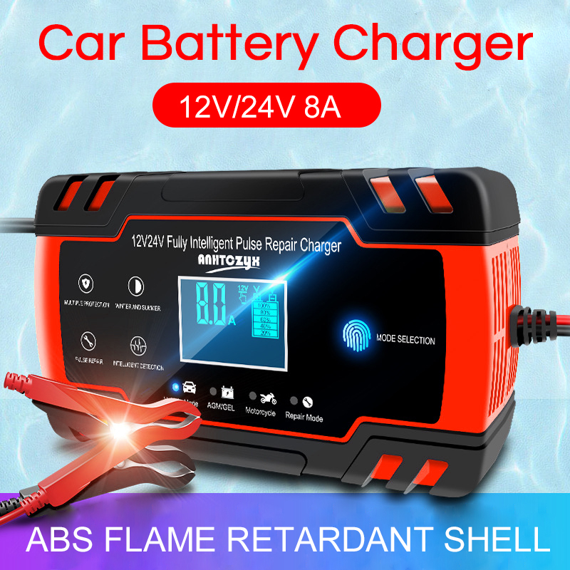 12v 8A Car Battery Charger Fully Automatic 12V 8A 24V Smart Fast Charger for AGM GEL WET Lead Acid Battery Pulse Repair Charger|Chargers|   - AliExpress
