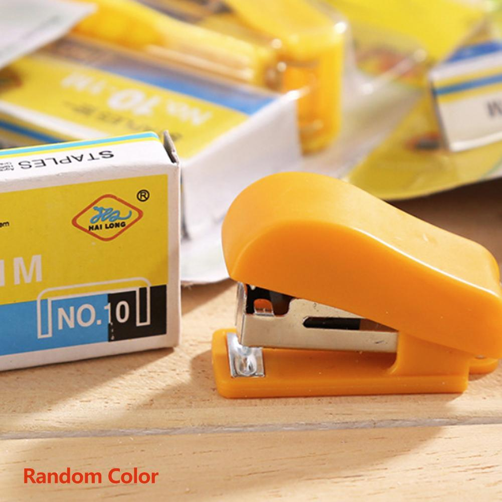 1 Pc Portable Kawaii Super Mini Stapler Useful Mini Small Stapler Staples Set Office Binding Stationery Random Color
