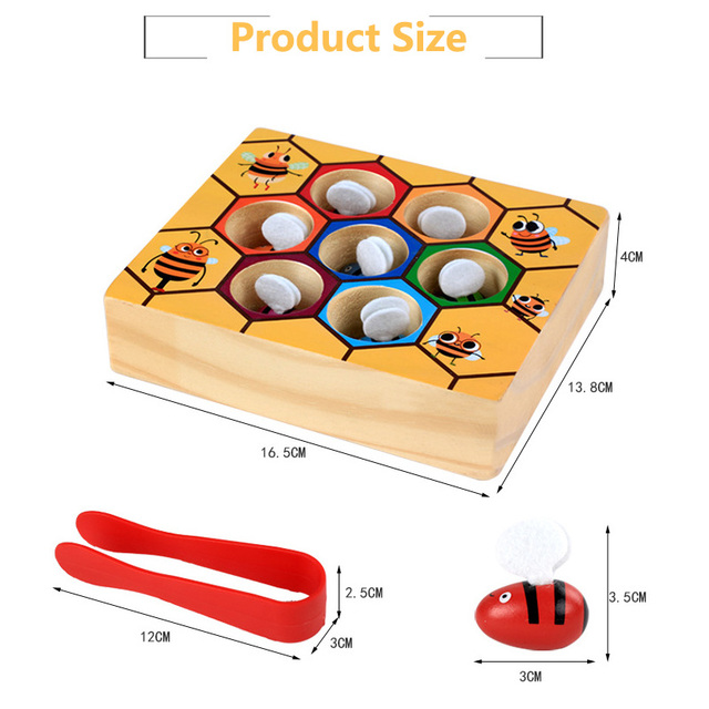 Hot Wooden Leaning Educatinal Toys Children Montessori Early Education Beehive Game Childhood Color Cognitive Clip Small Bee Toy