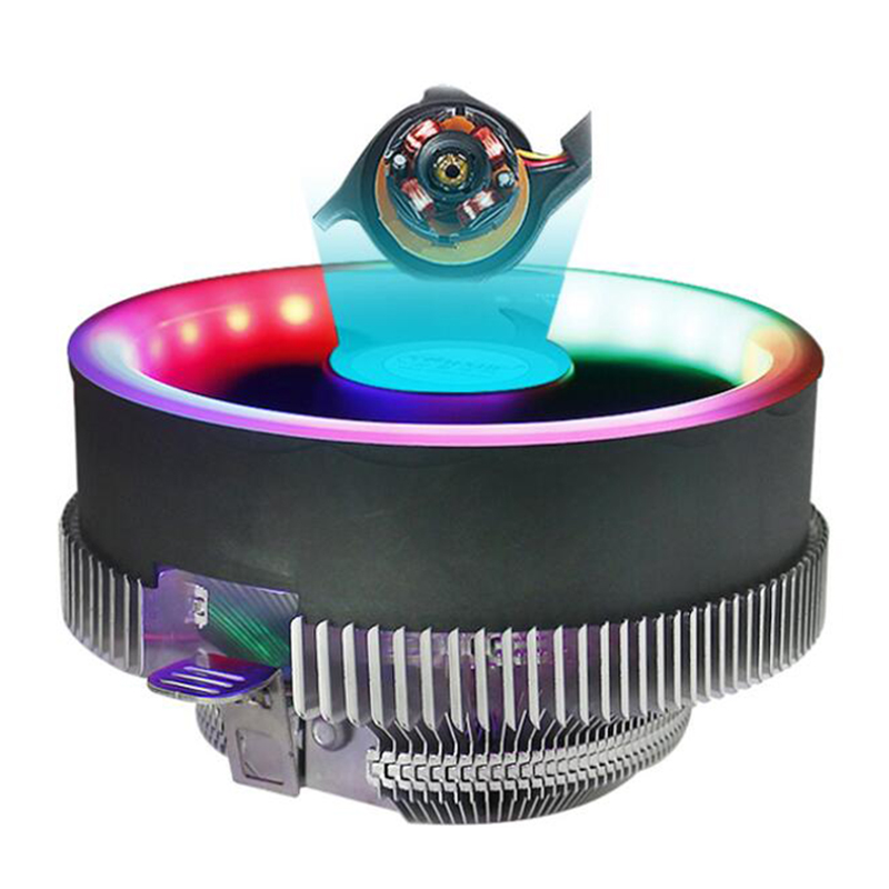 Aluminum Heatsink 3 Pin <font><b>CPU</b></font> <font><b>Cooler</b></font> Cooling Radiato RGB Heat Sink Silent Fan for Intel LGA 1150 1155 <font><b>1156</b></font> 775 AMD AM2 AM2+ AM3 image