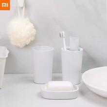 شاومي Mijia غسل مجموعة 3 في 1 أدوات للعناية الشخصية حمام الفم كأس صندوق الصابون مفيدة دش للمنزل الذكي في الأوراق المالية