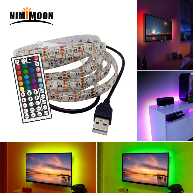 DC 5 V <font><b>USB</b></font> LED strip of <font><b>5050</b></font> RGB LED waterproof Flexible light 50 CM 1 M 2 M remote control 44Key for lighting image