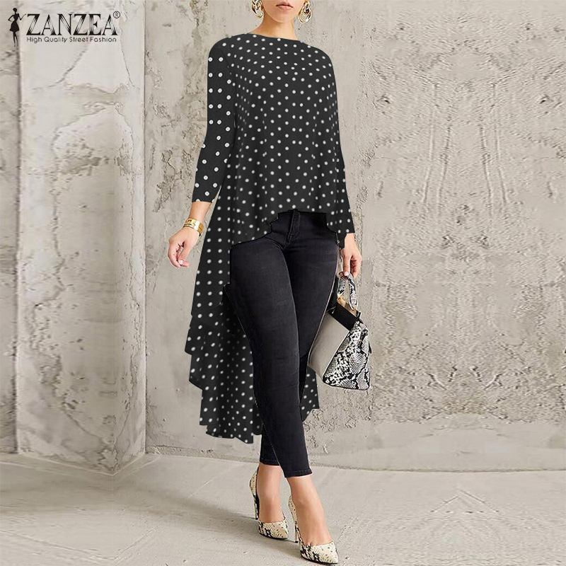 Stylish Polka Dot Shirts ZANZEA Women Long Sleeve Asymmetrical Hem Blouse Spring High Low Blusas Femininas Tunic Tops Chemise
