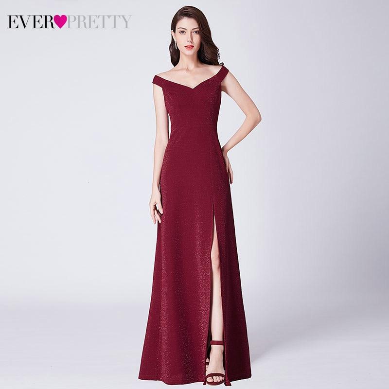 Burgundy Evening Dresses Long Ever Pretty EP07415BD A-Line Double V-Neck Sleeveless Side Split Elegant Formal Dresses Abiye 2019