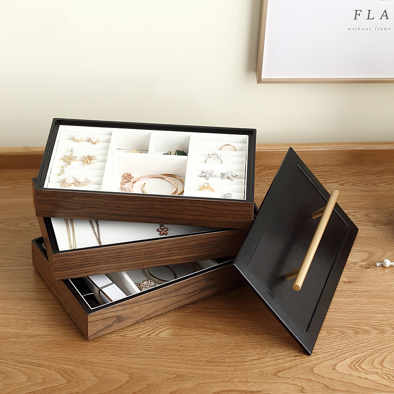 2020 New Luxury Large Wooden Jewelry Box Organizer 4 layer Jewelry Storage Case Casket Earring Rings