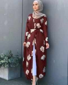 Image 4 - Kalenmos Dubai Arabischen Muslimischen Abaya Kleid Frauen Neue Roben Print Floral Schlank Langarm Islamische Eid Beiläufige Lange Kleid Plus größe 5xl