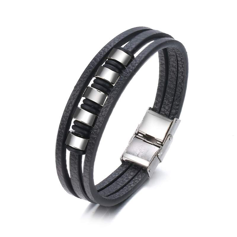 NIUYITID New Arrival Multi Layer Leather Men Bracelet On Hand Accessories Male Jewelry bracelet cuir homme