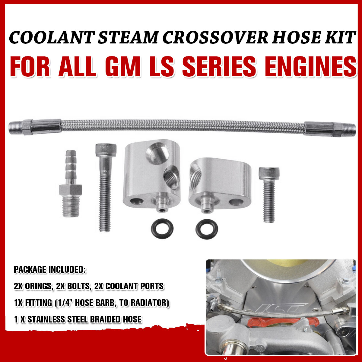 Head Steam Port Crossover LS LS1 Throttle Body Coolant Bypass Hose Kit