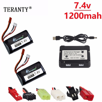 Battery charger set For Yizhan X6 H16 7.4v 1200mAh Lipo Battery For RC Drone 2S 7.4V battery for WLtoys V666 V262 V323 803063 image