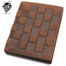 Crazy Horse Leather Mens Top Layer Lattice Wallet Business Real Luxury And Classical Design Small