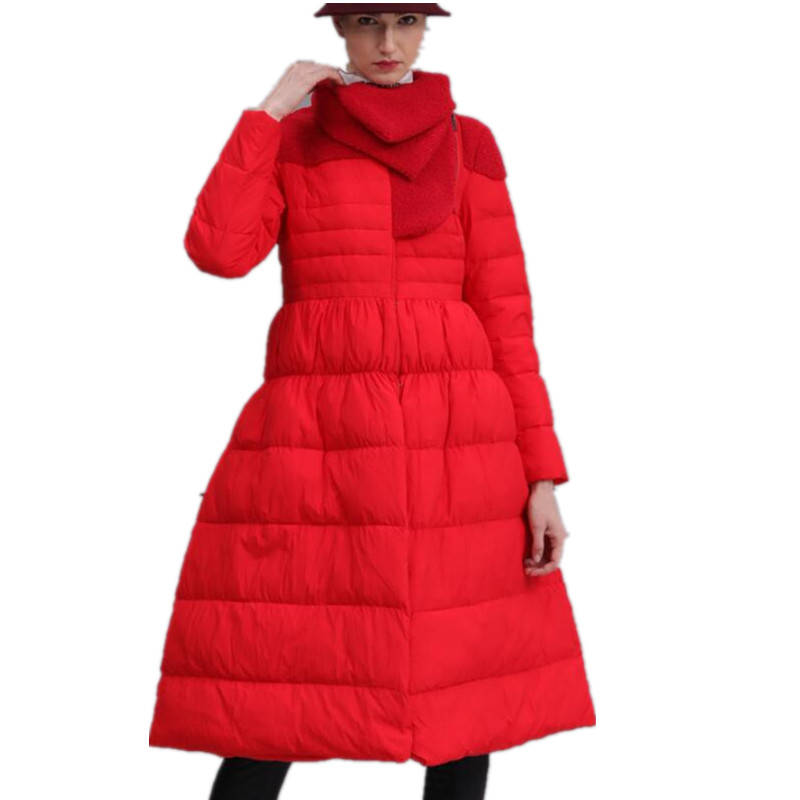 2019 Winter new fashion Women's Turned   Down   Collar Skirt Hem   Down     Coat   Jacket plus size 2XL