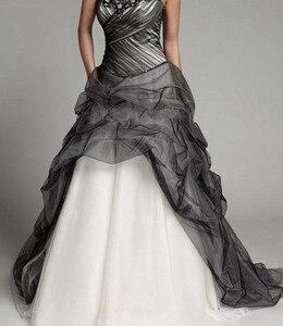 Image 3 - Robe de mariée gothique Vintage, à plis noirs et blancs, robe de mariée à volants, à plis, robe de mariée, 2020