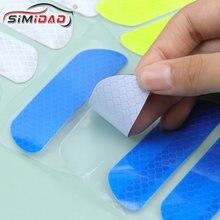 4 pçs carro adesivos reflexivos roda da porta do carro sobrancelha adesivo decalque marca de segurança tiras reflexivas fita de advertência reflexivo adesivos