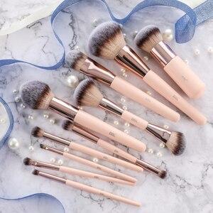 Image 2 - BBL 1pcs Pink Makeup Brush Kabuki Powder Foundation Blush Dual Ended Sculpting Blending Highlighter Smudge Eyeshadow Nasal Brush