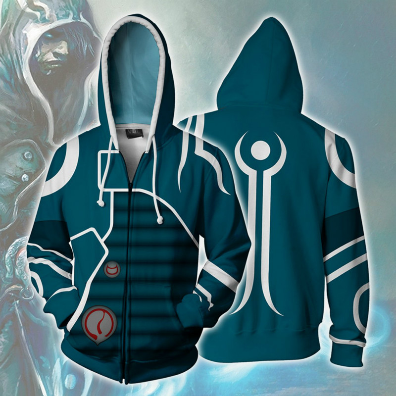 2020 New Japan Anime Sweatshirts Jace Beleren Cosplay Costume Autumn Men Anime 3D Printing Zipper Jacket Hooded Sweatshirts