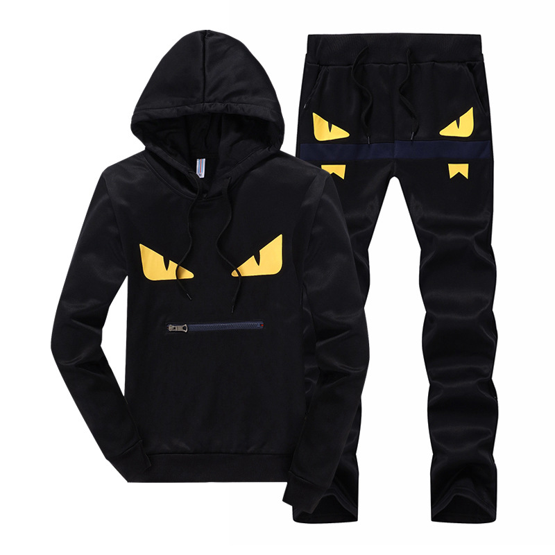 Spring And Autumn New Style MEN'S Casual Suit Hoodie Sports Set Little Monster Plus Velvet Korean-style Fashion