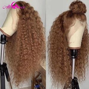 Парики Ali Coco из кудрявых человеческих волос с кружевом, плотность 180% #27, парики блонд/апельсиновый имбирь Омбре из окрашенных человеческих в...
