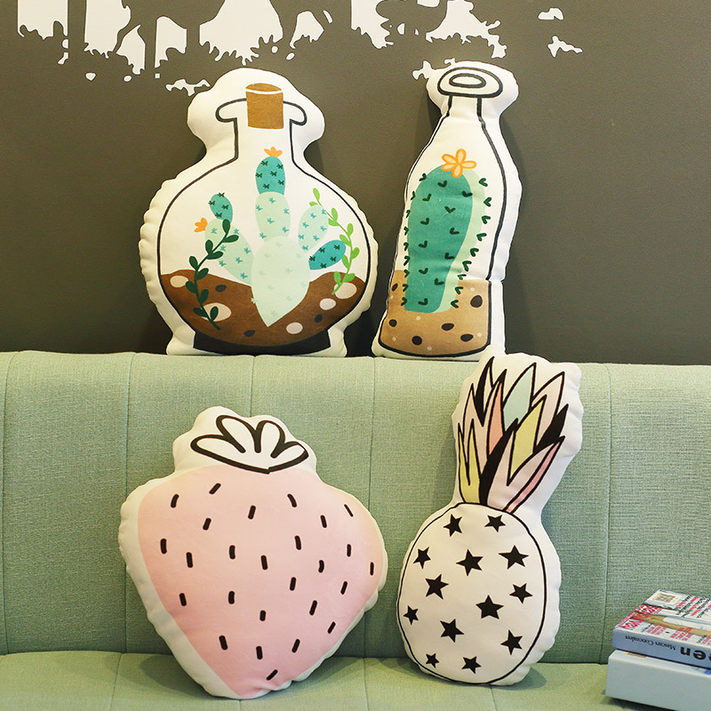 Northern European Style Swan with Crown Butterfly Bedside Pillow Strawberry Pineapple Living Room Bedroom Special Shape Cushion