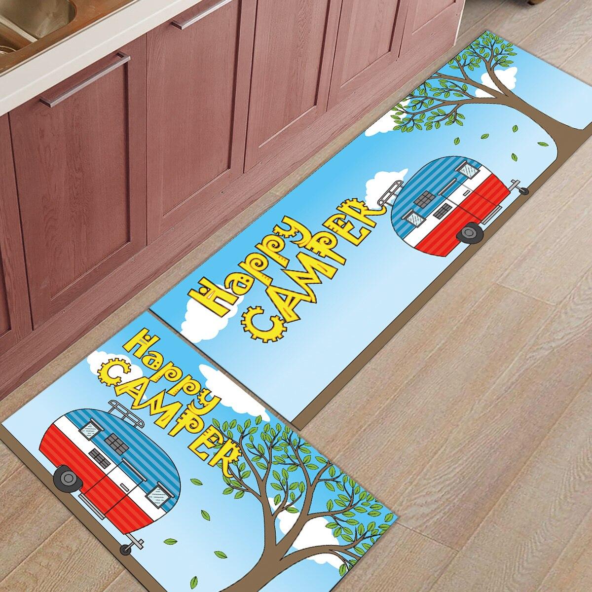 Vintage Caravan 2 Piece Mat For Kitchen Under A Pet Water Food Bowl Doormats For Entrance Way Bathroom Accessories Set Dirt