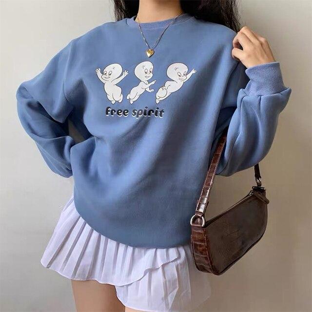 Free Cartoon Print Female Cute Pullover  Thick hoodie Warm Long Sleeve Tops Plus Size Loose Haze Blue sweatshirt women 2