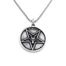 New Fashion Jesus Satan Necklace Round Star Baphomet Jesus Cross Steel Pendant Satanic