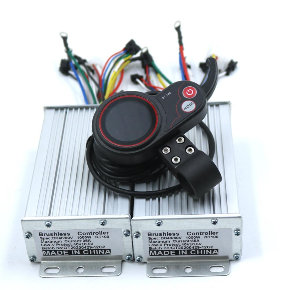 Dual drive 36V/48V/<font><b>60V</b></font> <font><b>1000W</b></font> BLDC Electric scooter <font><b>controller</b></font> E-bike 2 pcs brushless speed driver and 1Pcs LCD Display one set image