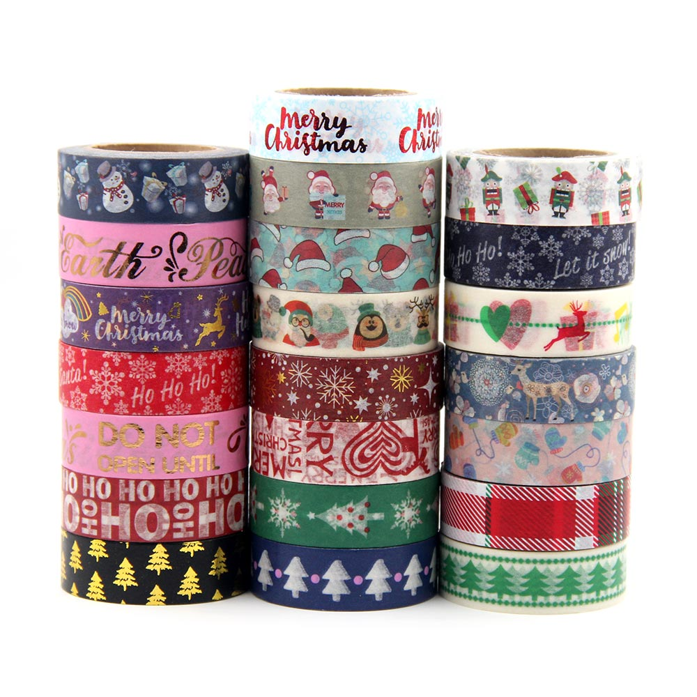1X Japanese Rice Paper Printing Masking Tape Merry Christmas Tree Washi Tape