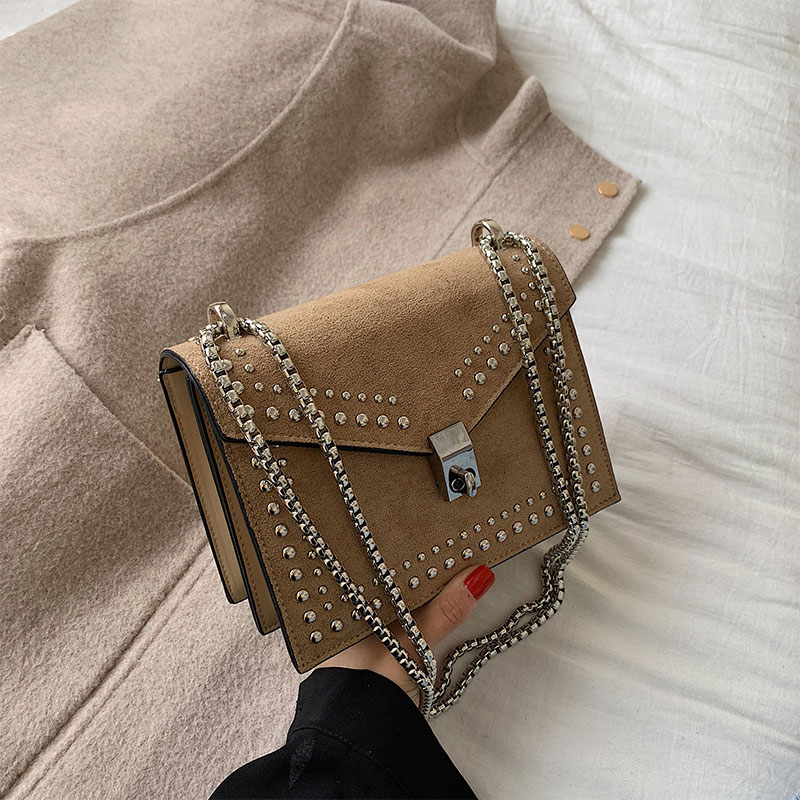2020 Rivet Shoulder Messenger Bags For Women Elegant Scrub Leather Fashion Chain Lock Crossbody Bag Female Flap Bags Casual