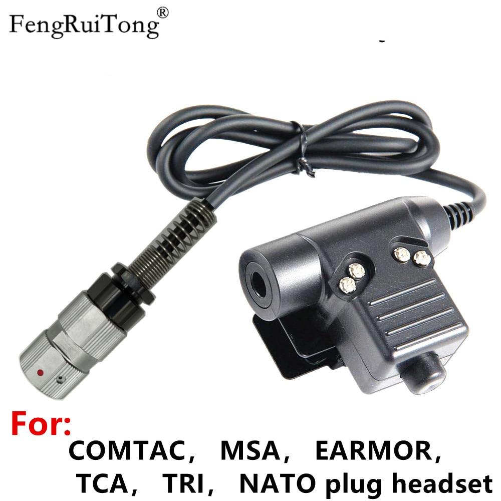 Tactics PTT for COMTAC MSA EARMOR TCA TRI NATO plug headset ,for PRC-148 PRC-152 tactical 6-PIN Walkie talkie