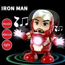 New LED Light Music Dancing spiderman Electric Robot Toy Children Iron Man Bumbl