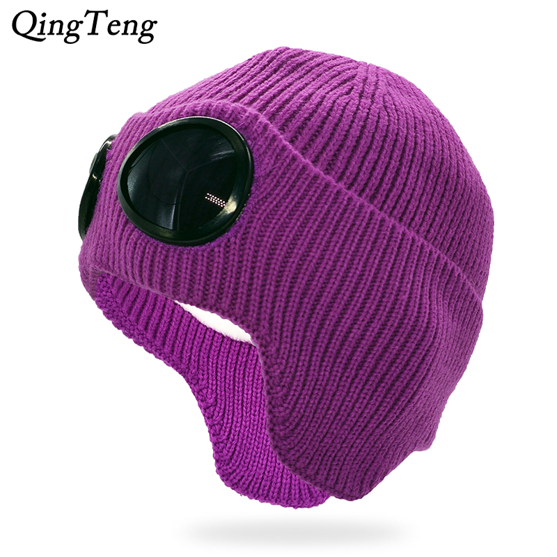 Casual Winter Ladies Knitted Hat With Removable Glasses For Women Men Warm Ear Flaps Beanies Skullies Ski Cap Outdoor Sports Cap