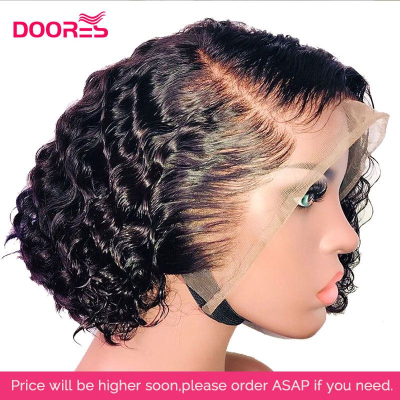 Lace Front Human Hair Wigs Pixie Cut Curly Human Hair Wig Remy 13x6 Fake Scalp Wig Lace Closure Wig Short Bob Lace Front Wigs