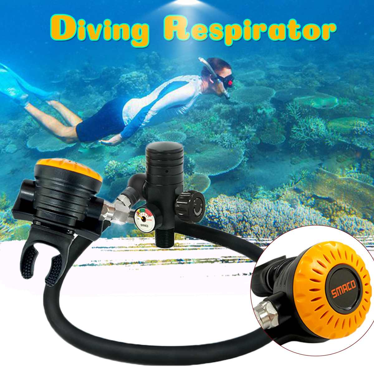 Smaco Diving Cylinder Respirator For Scuba Diving Oxygen Tank Underwater Breathing Snorkeling Diving Equipment Tool