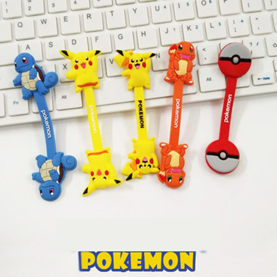 Anime Pokemon Pikachu Cable Tie With Cosplay Accessory USB Cable Winder Cut Line Machine