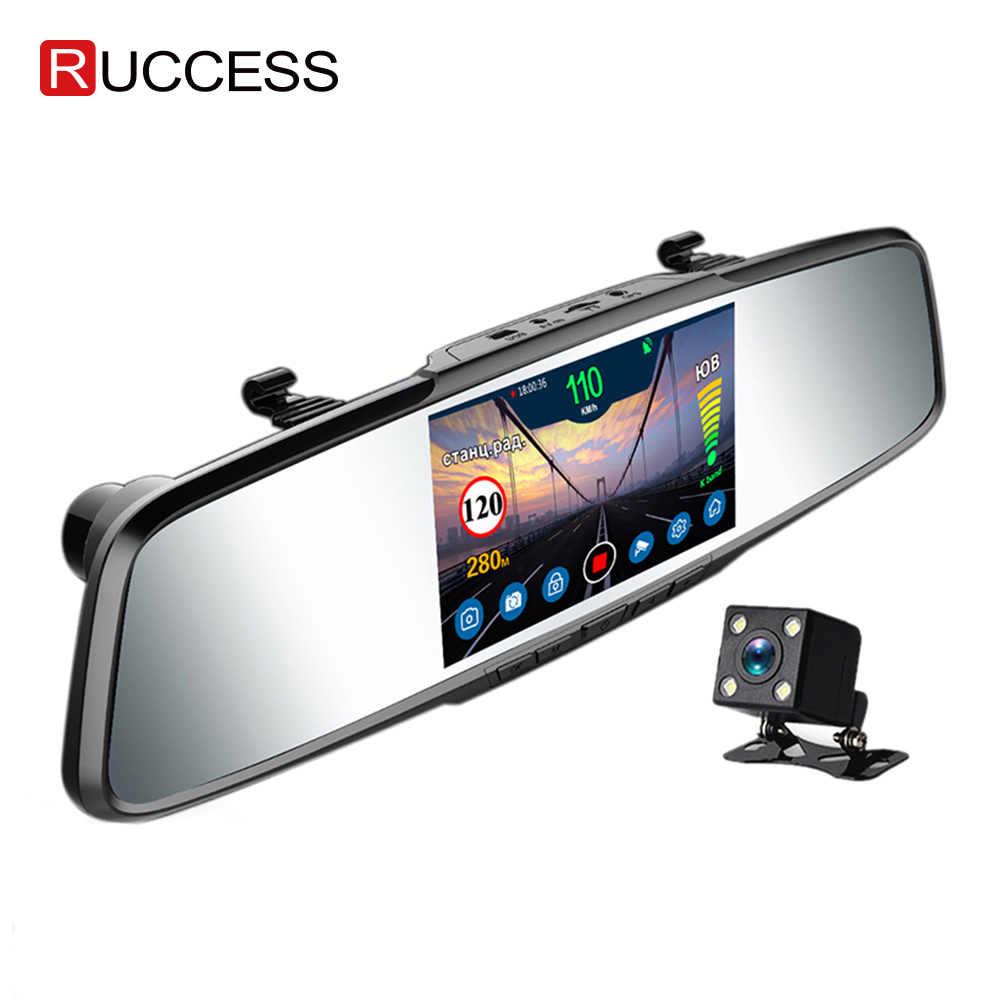 Ruccess espelho gravador detector de radar do carro para a rússia completa hd 1080 p lente dupla câmera registrador 3 em 1 dvr anti radar com gps