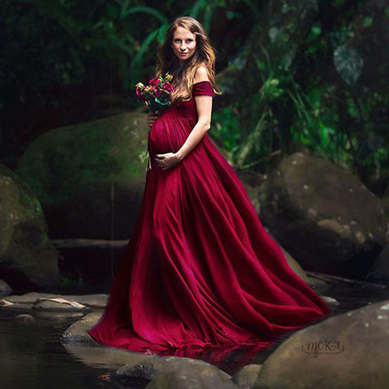Elegant Maternity Dresses For Photo Shoot Sexy V Neck Off Shoulder Pregnancy Photography Dress Pregnant Women Party Maxi Gowns